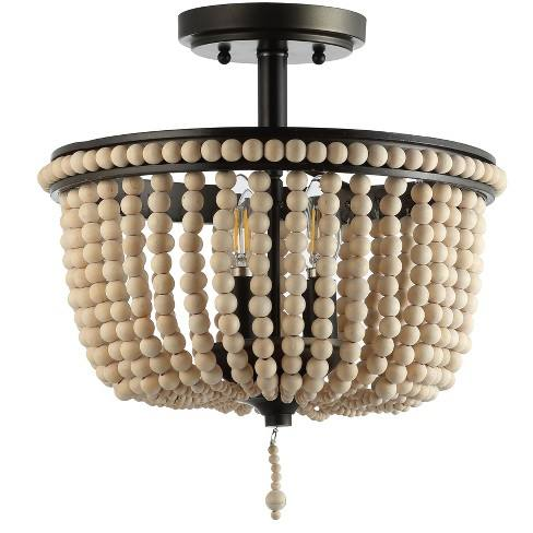 "14"" Allie Wood Beaded/Metal LED Flush Mount Ceiling Light Black - JONATHAN Y"