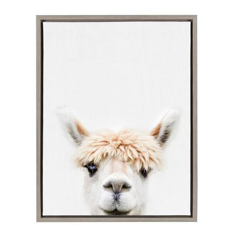 "Kate & Laurel 24""x18"" Sylvie Alpaca Bangs Animal Print Portrait By Amy Peterson Framed Wall Canvas Gray"