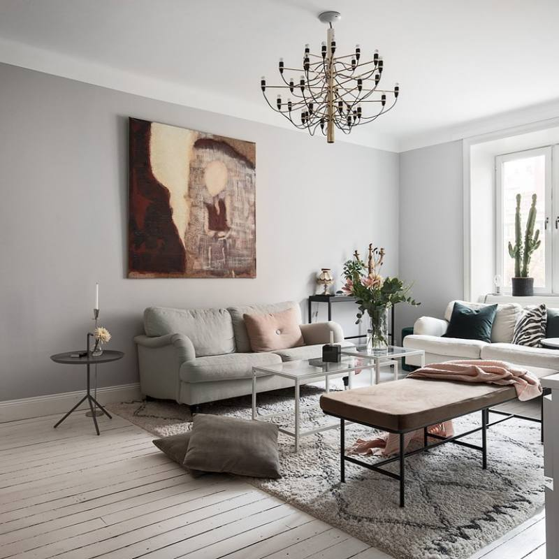 Modern Eclectic Scandinavian Apartment Living Room