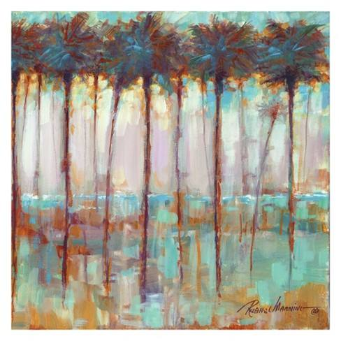 "30""x30"" Palms At Dusk Square By Ruane Manning Art On Canvas - Fine Art Canvas"