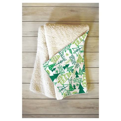 "Green Geometric Zoe Wodarz Wonderland Forest Sherpa Throw Blanket (50""X60"") - Deny Designs�"