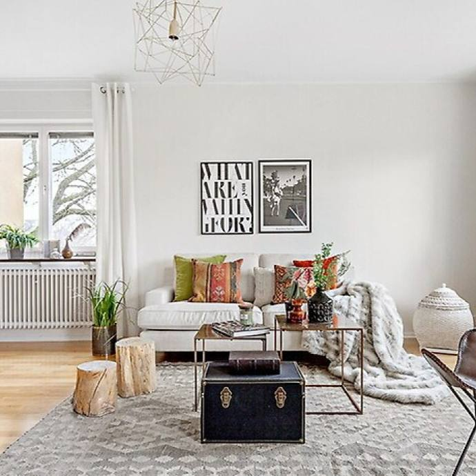 Eclectic apartment living room