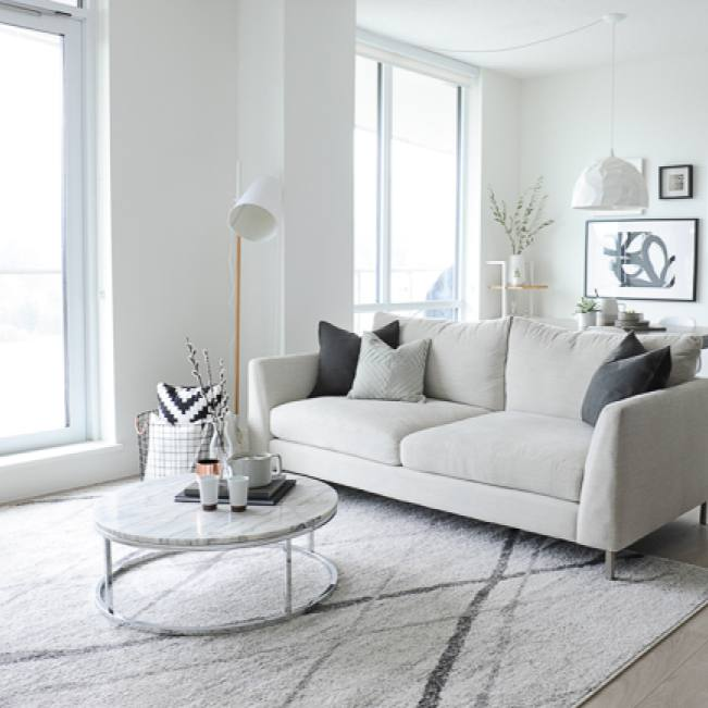 All white contemporary small living room