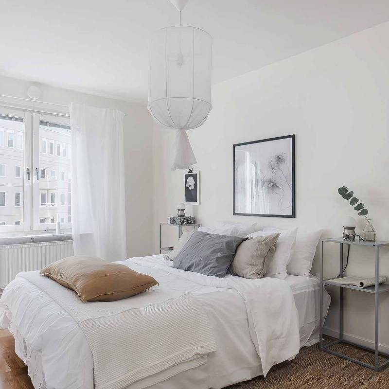 Small minimalist Scandinavian Bedroom
