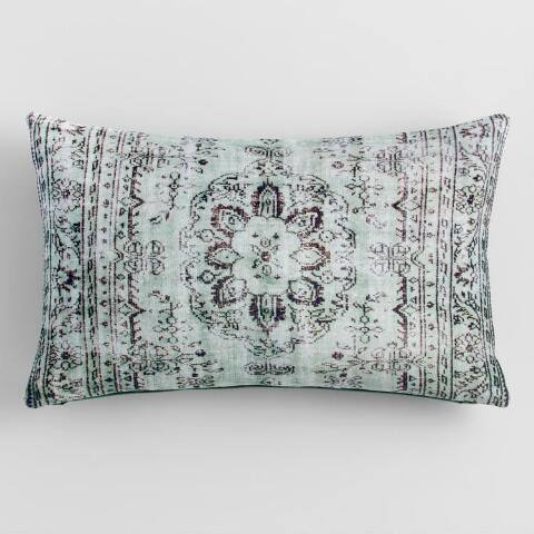 Oversized Cool Antiqued Velvet Lumbar Pillow