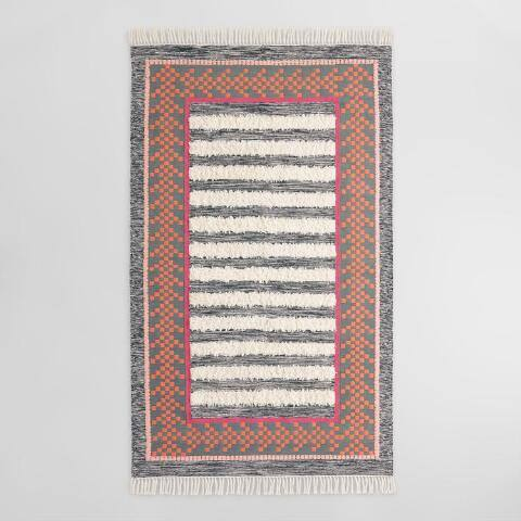 White Shag Stripe Kilim Raaka Indoor Outdoor Rug