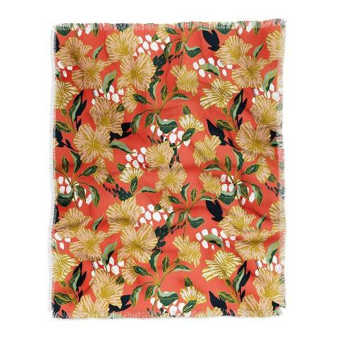 Marta Barragan Camarasa Flowering Sweet Bloom Woven Throw Blanket Orange - Deny Designs