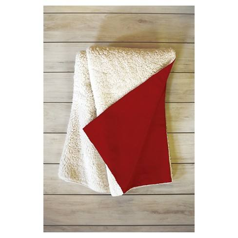 "Red Novelty Leah Flores Mistletoe Kiss Sherpa Throw Blanket (50""X60"") - Deny Designs�"