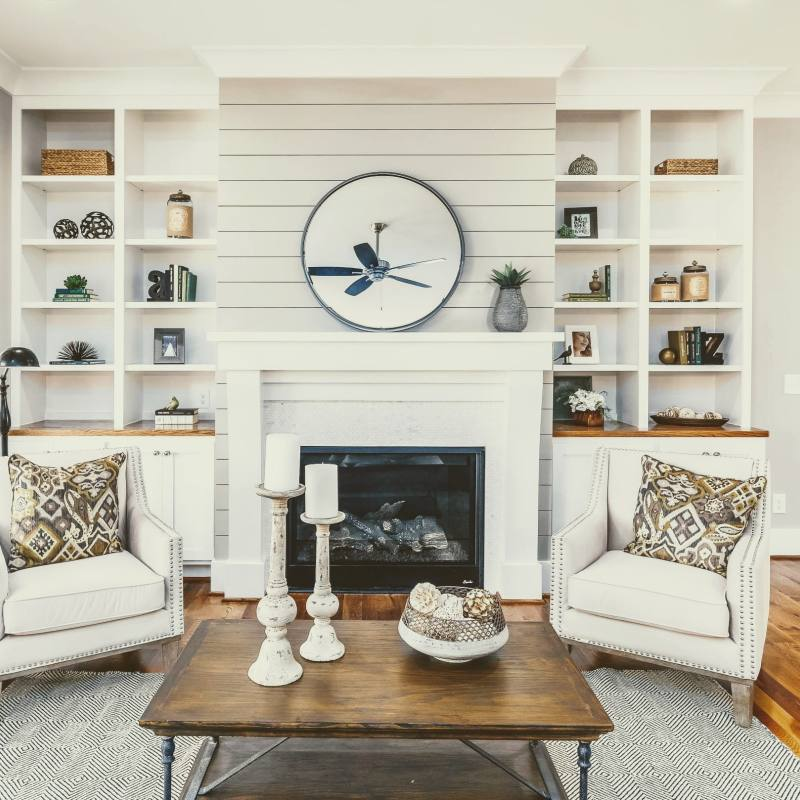 Rustic farmhouse living room with fireplace