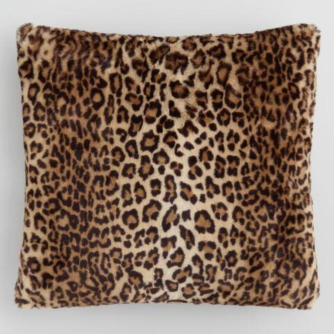 Leopard Print Faux Fur Throw Pillow