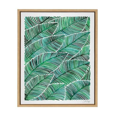 "Kate & Laurel 24""x18"" Sylvie Tropical Leaves Watercolor By Cat Coquillette Framed Wall Canvas Wood"