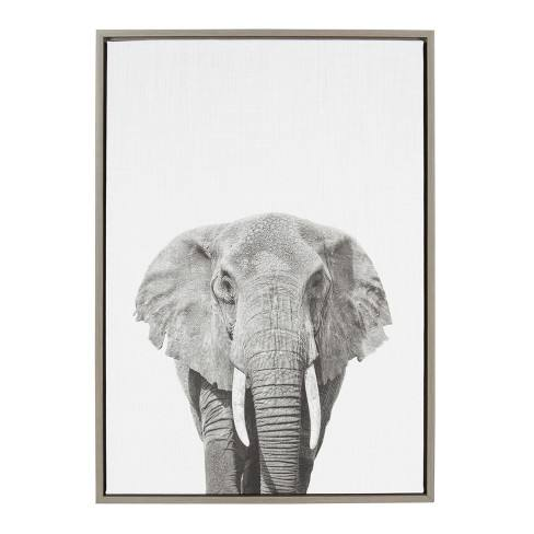 "Kate & Laurel 33""x23"" Sylvie Elephant Animal Print And Portrait By Simon Te Tai Framed Wall Canvas Gray"