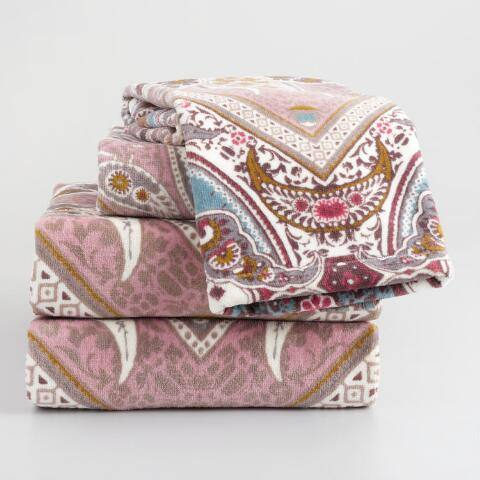 Lilac and Taupe Paisley Printed Donatella Towel Collection