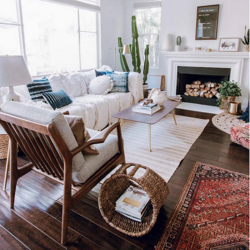 Neutral cozy boho chic living room
