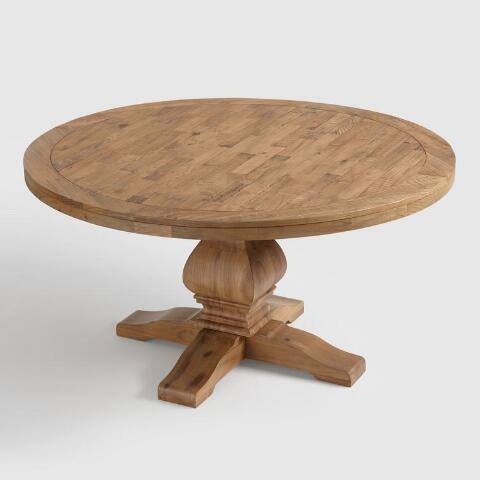 Round Gray Pine Wood Lisette Dining Table