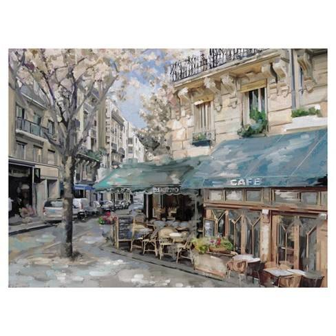 "30""x40"" Bistro De Paris 1 By Studio Arts Art On Canvas - Fine Art Canvas"