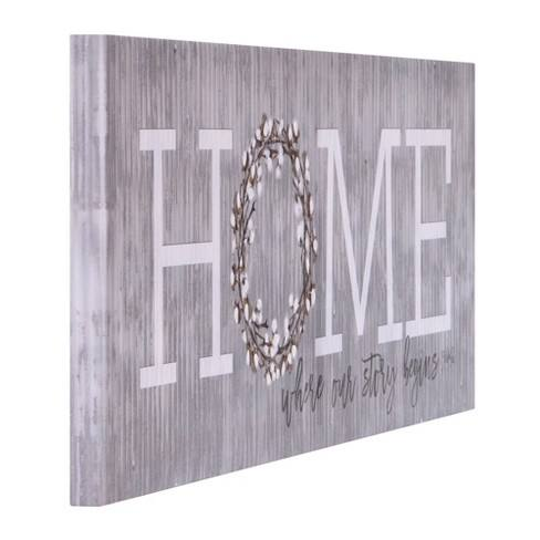 "12""x36"" Home is Where Our Story Begins Canvas Art Gray - Patton Wall Decor"