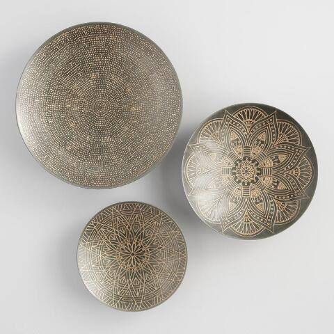 Zinc and Gold Metal Etched Disc Wall Art Set of 3