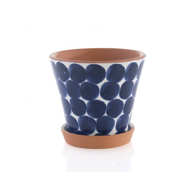 Jenes Shibori Flower Pot, Blue