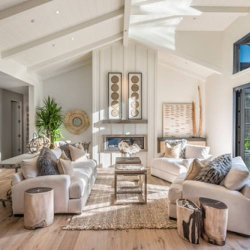 Cream neutral rustic living room by Joseph Farrell Architecture