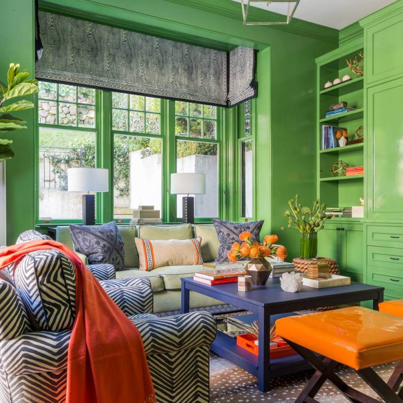Bright colorful blue green orange ann lowengart livingroom