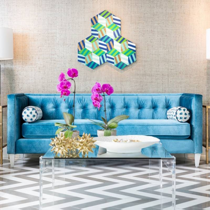 Get the look: Colorful modern living room by Reynal Interiors