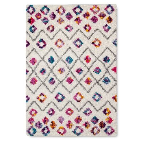 Machine Made Boho Diamond Shag Rug