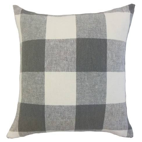 "Coal Big Buffalo Check Throw Pillow (18""x18"") - The Pillow Collection"