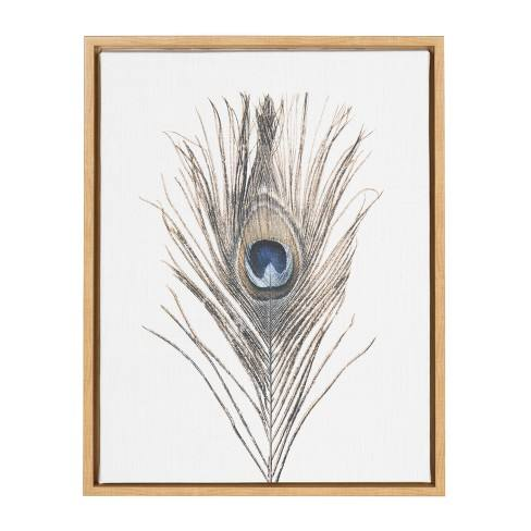 "Kate & Laurel 24""x18"" Sylvie Peacock Feather By Simon Te Tai Framed Wall Canvas Wood"