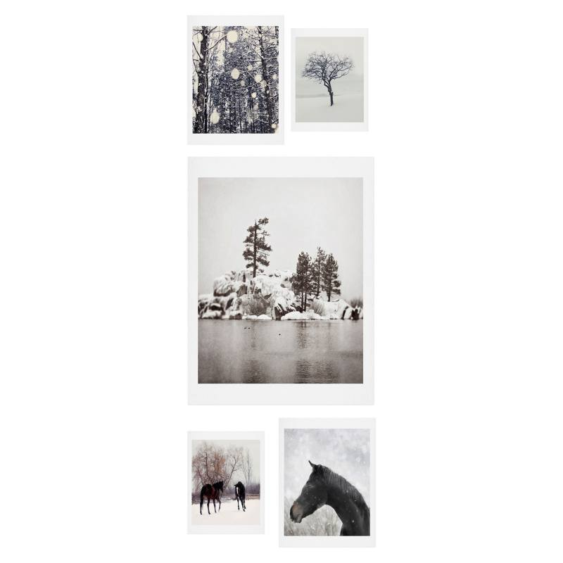 Winter Farm 5-Piece Gallery Wall Art Print Set