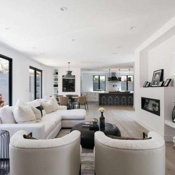 All white modern bright living room