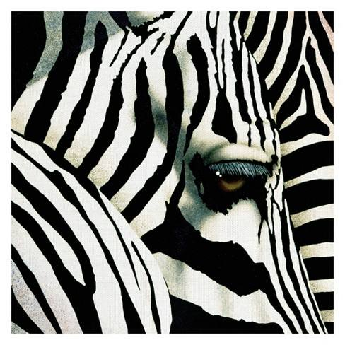 "35""x35"" Do Zebras Dream In Color By Will Bullas Art On Canvas - Fine Art Canvas"