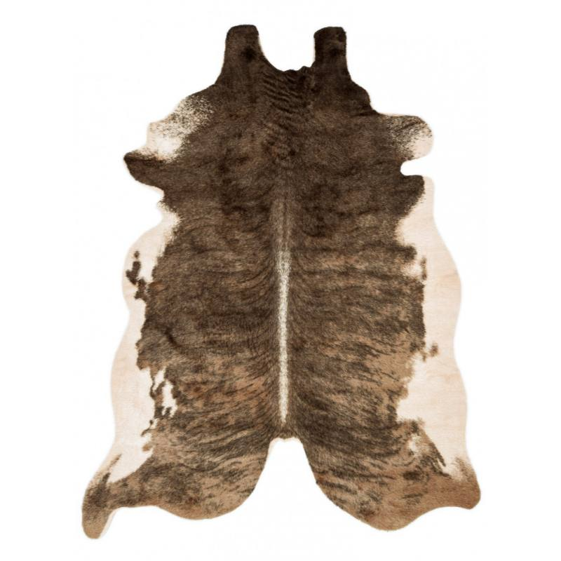 Rustic Brown Faux Cowhide Rug