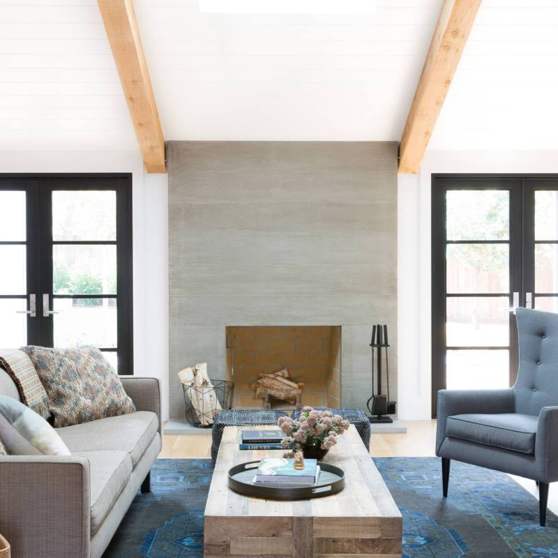 Blue accent modern farmhouse living room