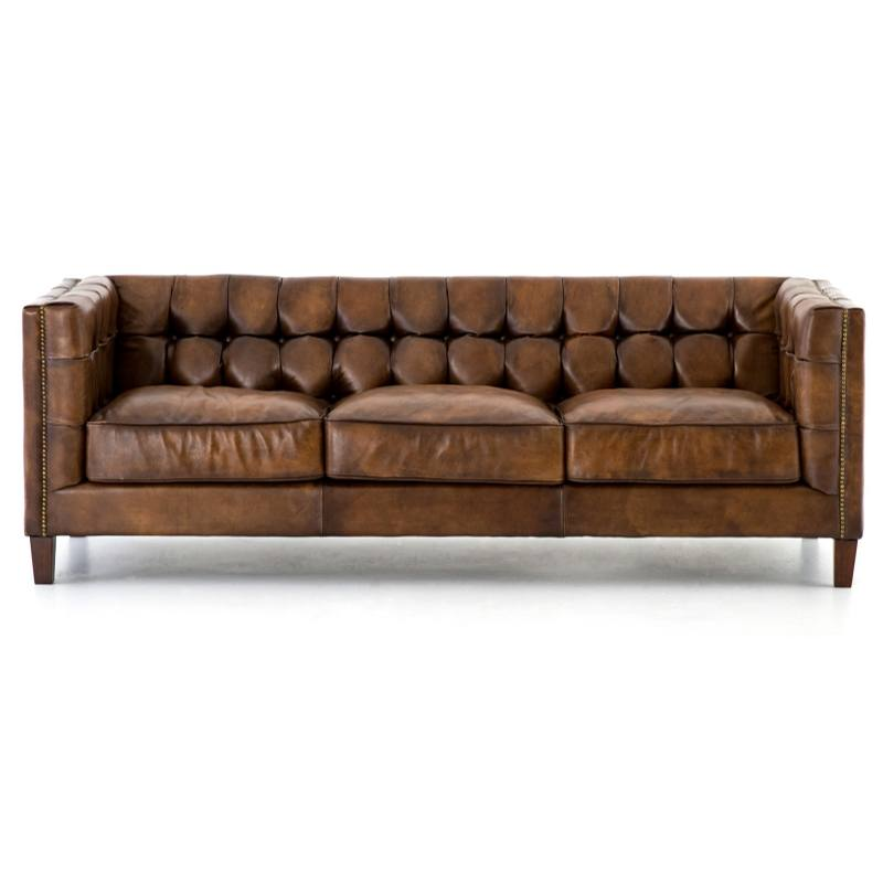 Trent Leather Sofa, Chestnut