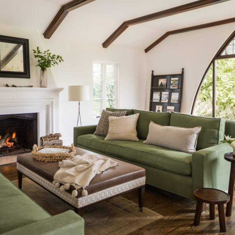 Classic traditional farmhouse living room with fireplace