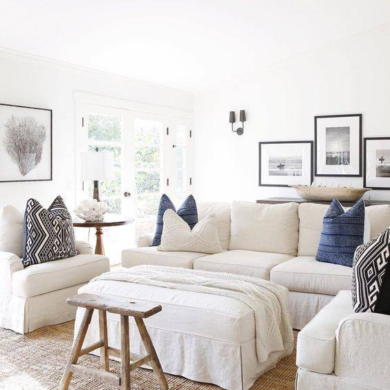 Neutral Coastal White and blue accent living room