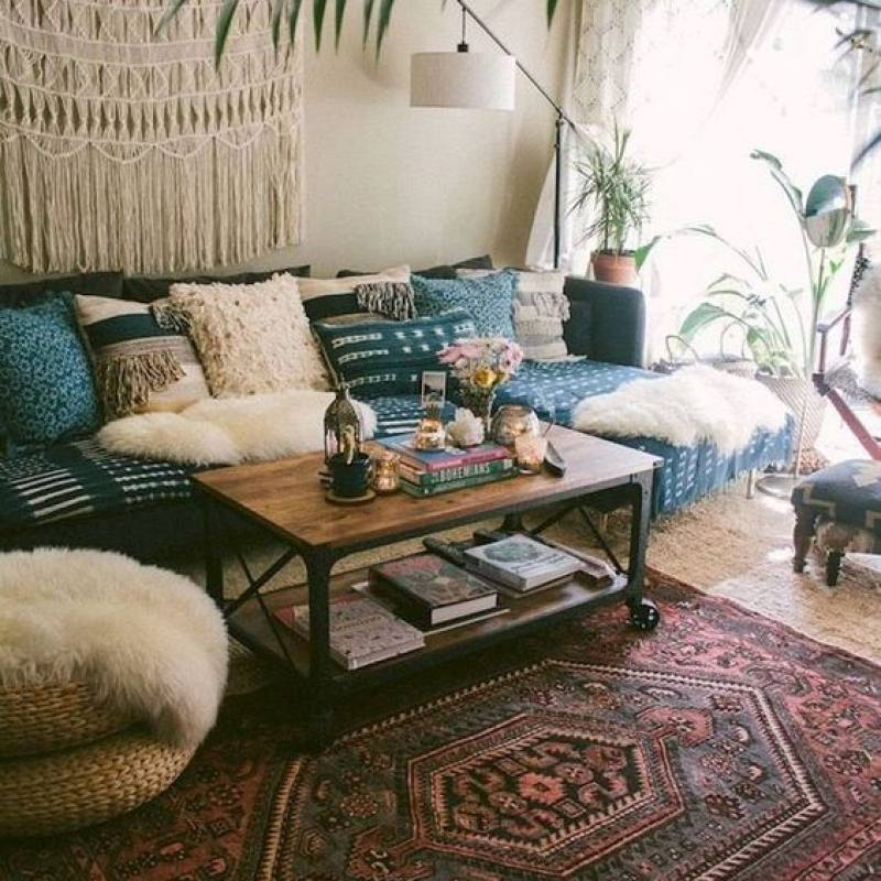 Vintage colorful bohemian living room