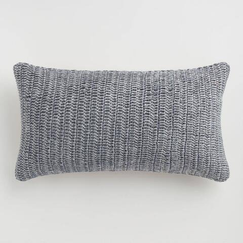 Oversized Stone Gray Knitted Villa Rina Lumbar Pillow
