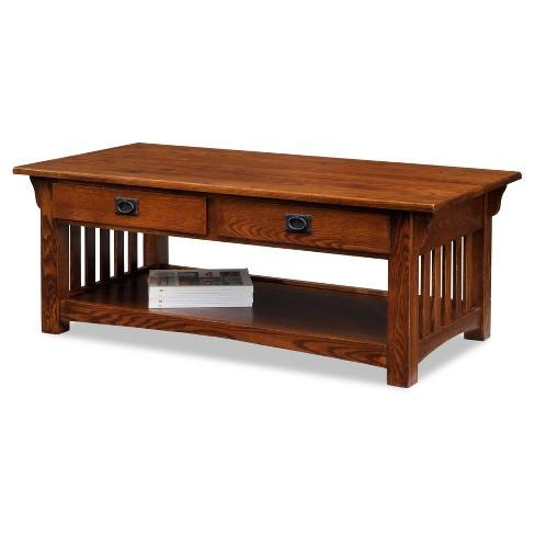 Mission Coffee Table With Drawers And Shelf - Medium Oak - Leick Home