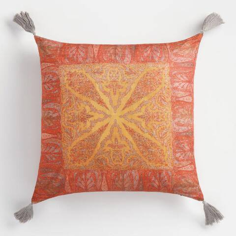 Paisley Tassel Throw Pillow