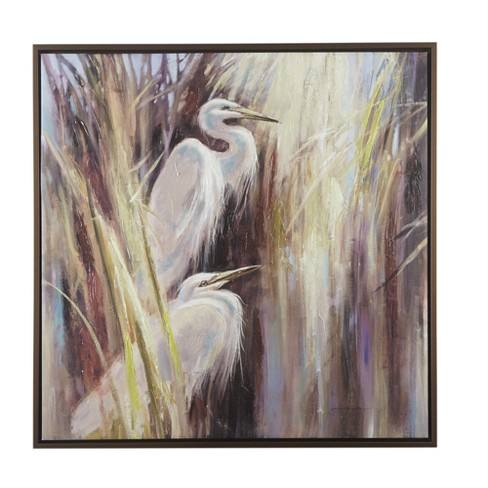 "37.6""X37.6"" Seaside Egrets Hand Embellished Canvas with Frame Natural"