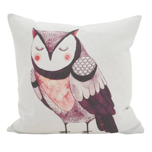 "Saro Lifestyle 16""x16"" Resting Owl Cotton Poly Filled Throw Pillow White"