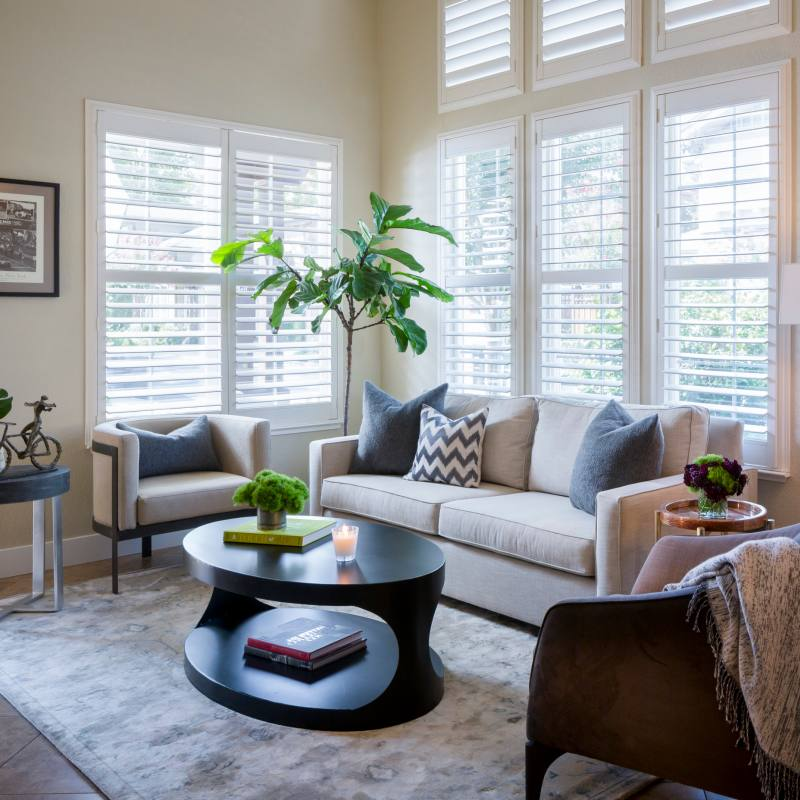 Neutral transitional living room by kimberley harrison