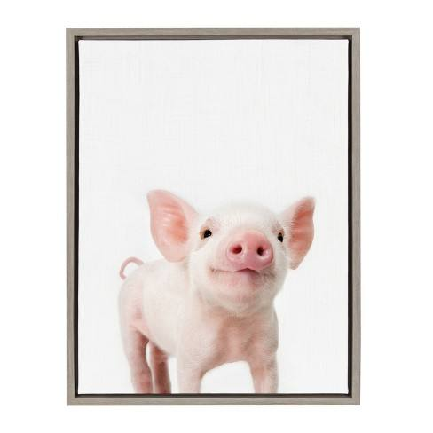 "Kate & Laurel 24""x18"" Sylvie Baby Piglet Animal Print Portrait By Amy Peterson Framed Wall Canvas Gray"