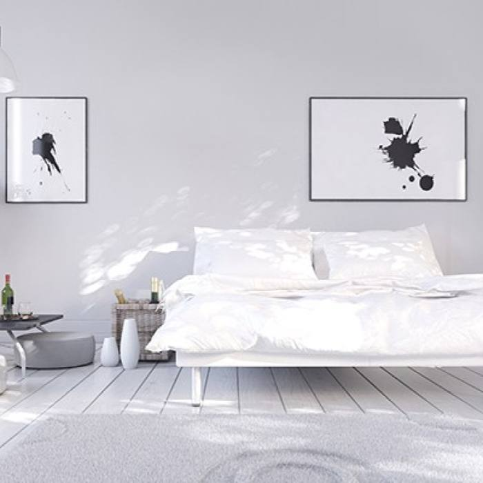 Modern minimalist black and white bedroom