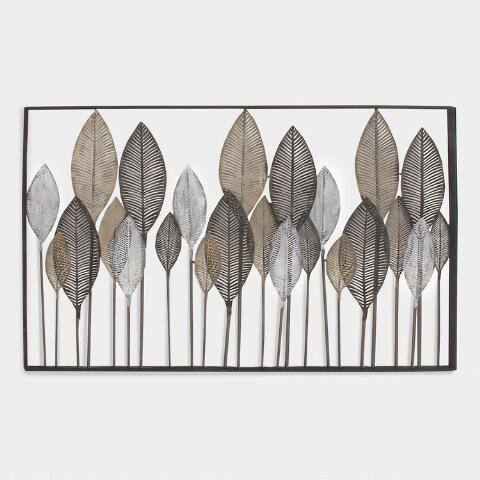 Metal Leaf Wall Decor in Brown Frame
