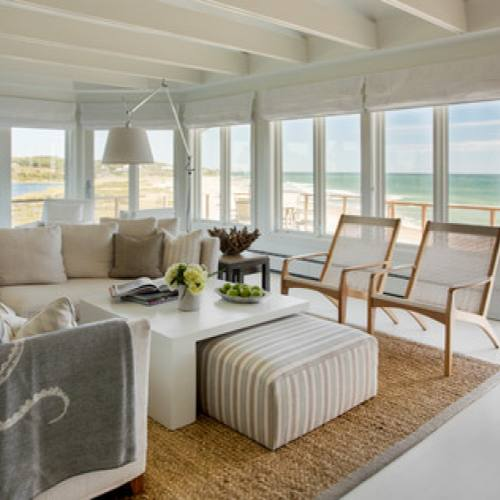 All white coastal living room