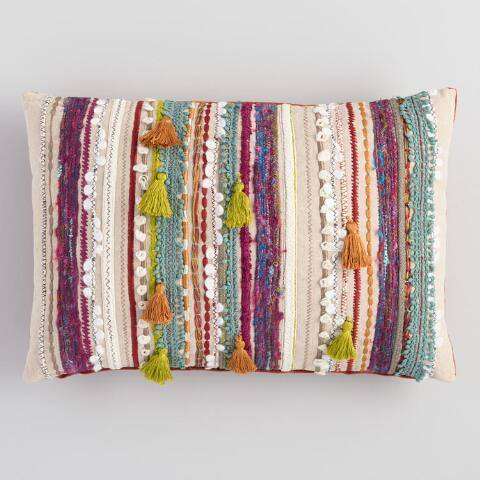 Multicolor Confetti Embroidered Stripe Lumbar Pillow