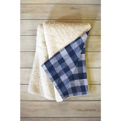 "66""x50"" Pimlada Phuapradit Gingham Throw Blanket Blue - Deny Designs"